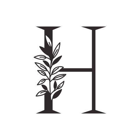 Lettre H de l'alphabet avec des feuilles de conception d'illustration vectorielle