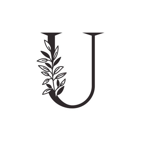 letter U of the alphabet with leaves vector illustration design