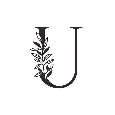 Lettre U de l'alphabet avec des feuilles de conception d'illustration vectorielle Vecteurs