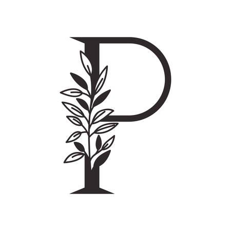 letter P of the alphabet with leaves vector illustration design Illustration