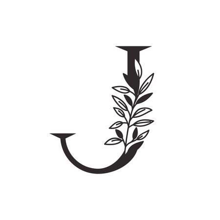 letter J of the alphabet with leaves vector illustration design