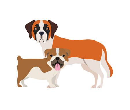 cute and adorable dogs on white background vector illustration design
