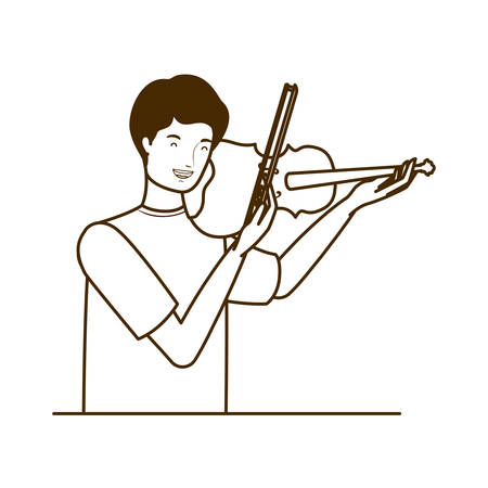 silhouette of man with fiddle on white background vector illustration design Stok Fotoğraf - 129376511