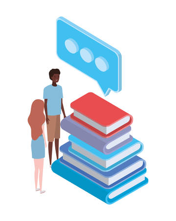 couple of people with stack of books on white background vector illustration design