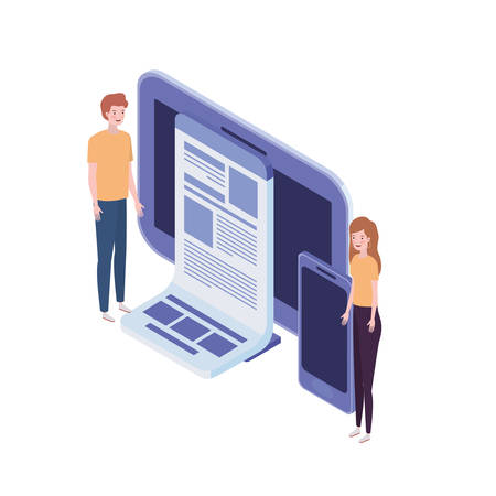 couple of people with computer screen and smartphone in white background vector illustration design