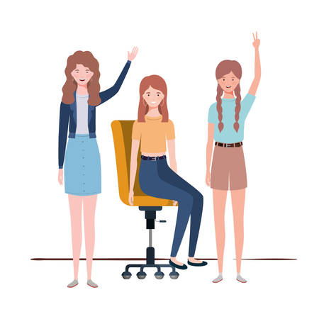 women with sitting in office chair on white background vector illustration design