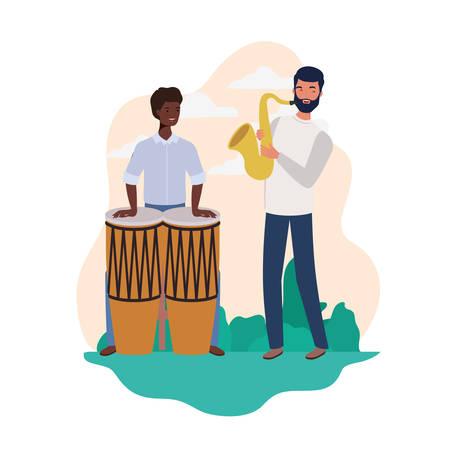 men with musicals instruments and background landscape vector illustration design 일러스트
