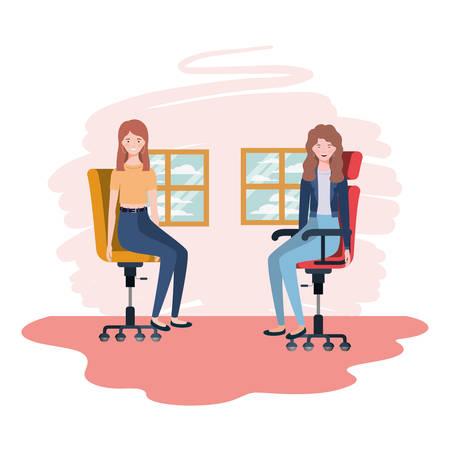 women in living room sitting in office chair vector illustration design