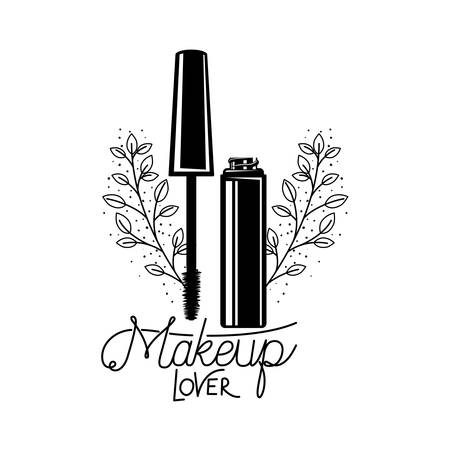brush for eyelash, combs and mascara on white background vector illustration design