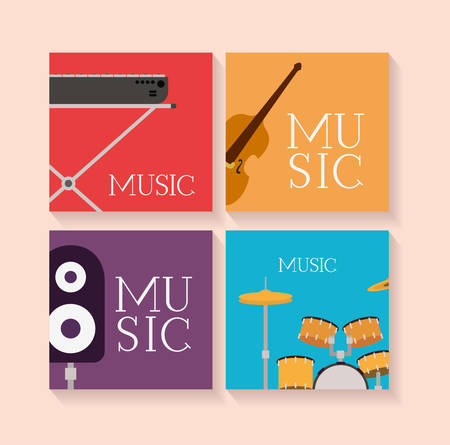 set of musical instruments icons vector illustration design