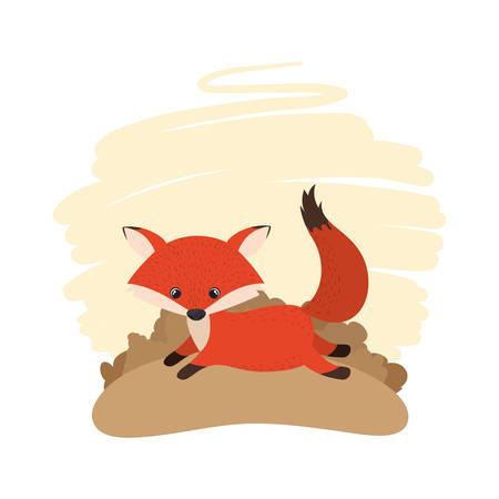 cute fox with background landscape vector illustration design