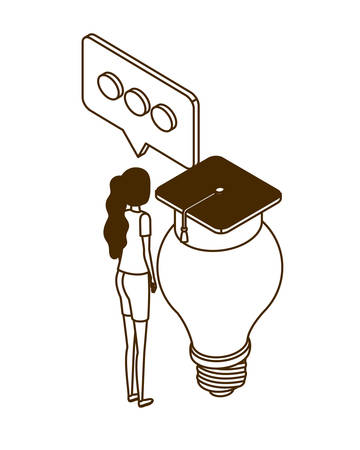 woman with light bulb and graduation hat on white background vector illustration design Illustration