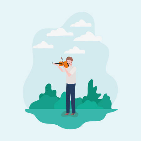 man playing fiddle instrument character vector illustration design Stock Illustratie