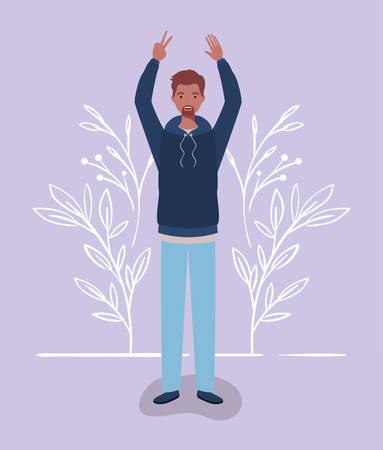 young and casual afro man character vector illustration design Illusztráció