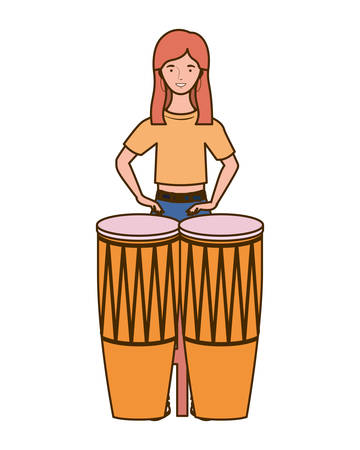 silhouette of woman with congas on white background vector illustration design Foto de archivo - 129338971