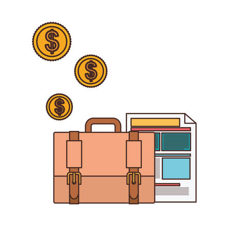 suitcase of businessman with file sheet in white background vector illustration design Иллюстрация