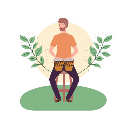 man with congas and branches and leaves in the background vector illustration design Foto de archivo - 129405207