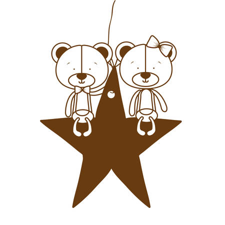 silhouette of cute couple of bears sitting on the star vector illustration design
