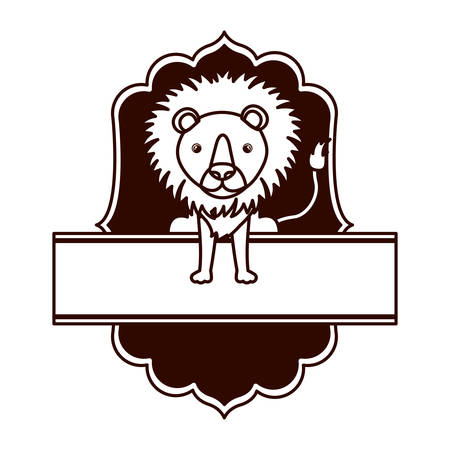 cute and adorable lion with frame vector illustration design Stock Illustratie