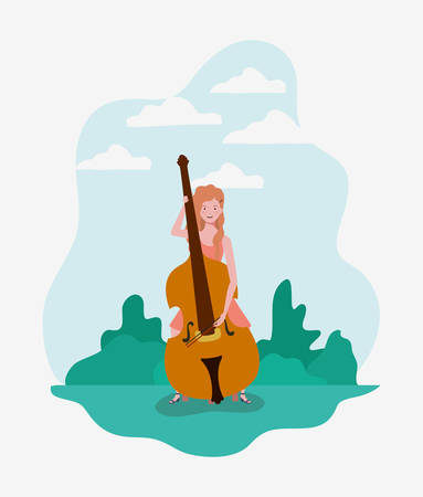 woman playing cello instrument character vector illustration design