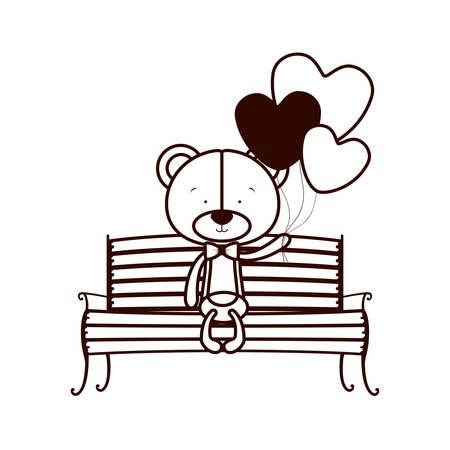 cute bear sitting on park chair vector illustration design Ilustração