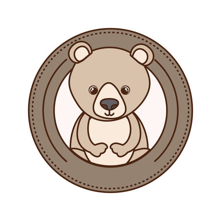 cute and adorable bear with circular frame vector illustration design Stock Illustratie