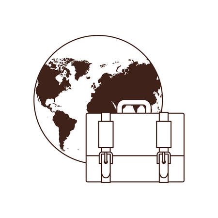 suitcase of businessman with planet earth of background vector illustration design