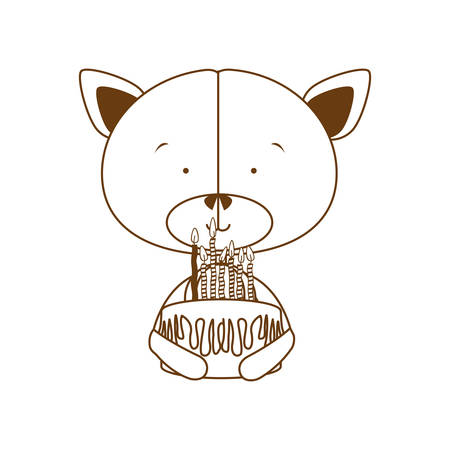 silhouette of bear with cake in hand on white background vector illustration design 일러스트