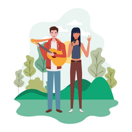 couple of people with musicals instruments and background landscape vector illustration design