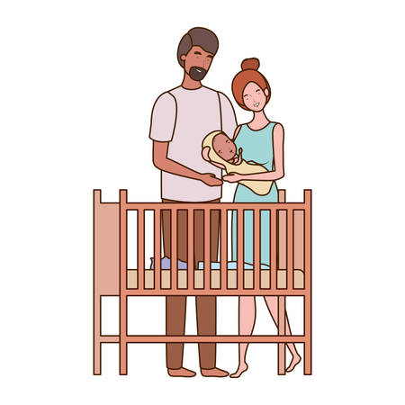Mother and father with baby design, Child newborn childhood kid innocence and little theme Vector illustration Foto de archivo - 129419810
