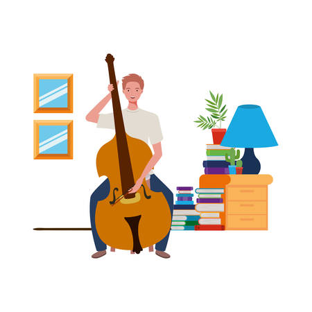 young man with fiddle in living room vector illustration design