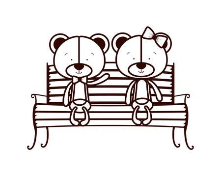 cute couple of bears sitting on park chair vector illustration design