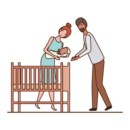 Mother and father with baby design, Child newborn childhood kid innocence and little theme Vector illustration Foto de archivo - 129420013