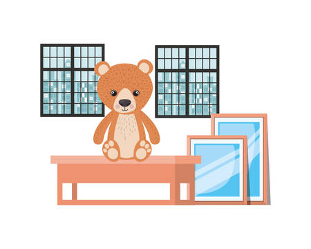 Teddy bear design, Childhood infant birth decoration present little and small theme Vector illustration 写真素材 - 129420739