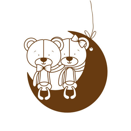 silhouette of cute couple of bears sitting on the moon vector illustration design 일러스트