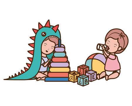 Baby boy and girl design, Child newborn childhood kid innocence and little theme Vector illustration Иллюстрация