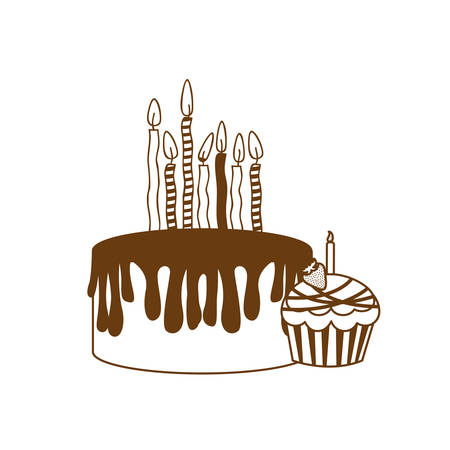 silhouette of delicious and fresh cakes on white background vector illustration design Иллюстрация