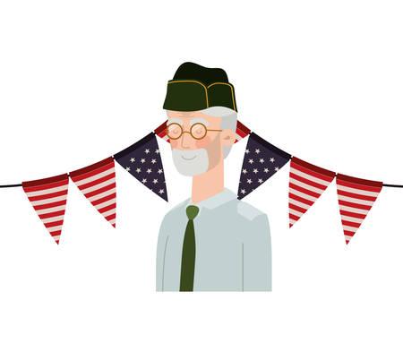 veteran war old man with flag of united states background vector illustration design