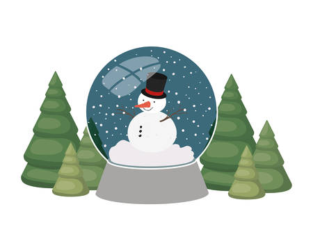 snowman and christmas pine in crystal ball isolated icon vector illustration design Çizim