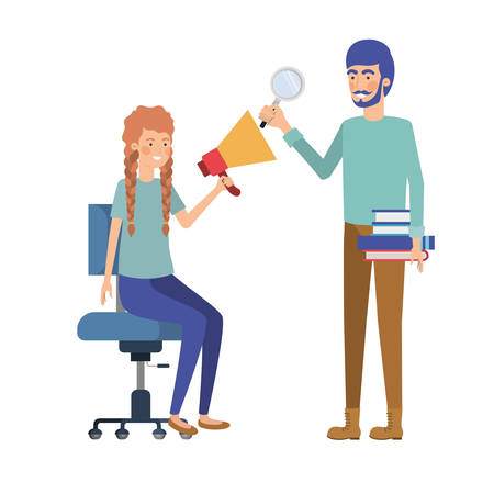 couple with sitting in office chair avatar character vector illustration design  イラスト・ベクター素材
