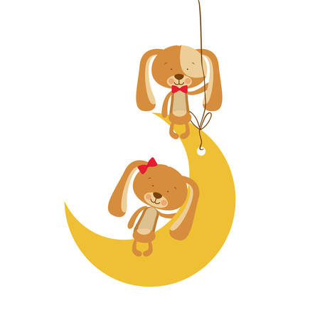 cute puppies sitting in the moon vector illustration design