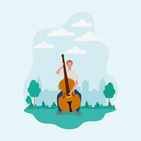 man playing cello instrument character vector illustration design