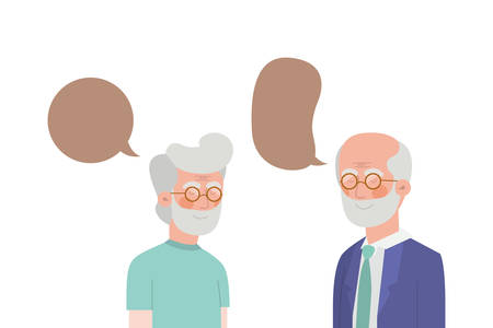 cute grandparents with speech bubble character vector illustration design Banco de Imagens - 129420994
