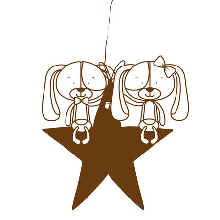 silhouette of cute puppies sitting on the star vector illustration design