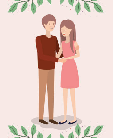 lovers couple with leafs crown characters vector illustration design Foto de archivo - 129421020