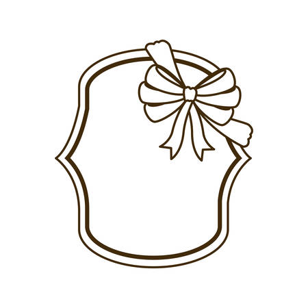 silhouette of frame with ribbon in white background vector illustration design