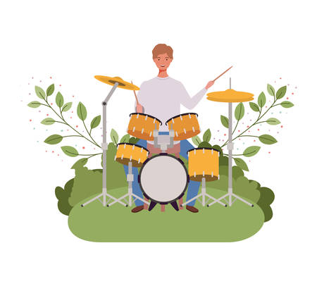 man with drum kit and branches and leaves in the background vector illustration design Stock Vector - 129421031
