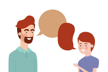 father with son and speech bubble character vector illustration design Banco de Imagens - 129421193