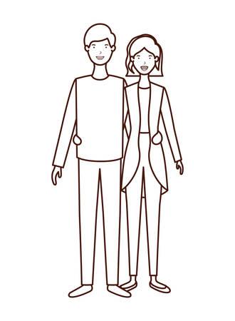 young couple avatar character vector illustration design Banco de Imagens - 129421242