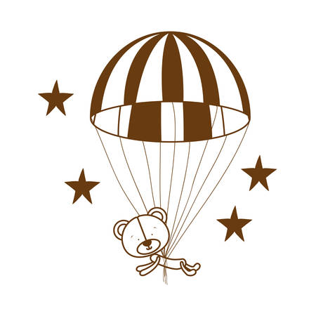 silhouette of bear on parachute on white background vector illustration design 일러스트